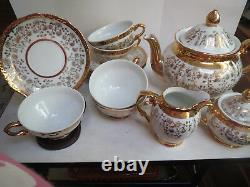 Schrinding Bavaria Tea Set Teapot/creamer/covered Sugar/5 Cups/6 Saucers