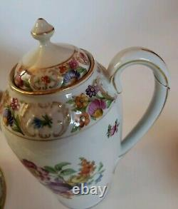 Schumann Dresden Empress Teapot Coffee Set Dresden Flowers Sugar Creamer Saucers