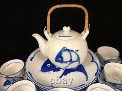 Set Vintage Koi Fish Carp Plates Blue/White Made China 23 Piece Tea Pot Unique