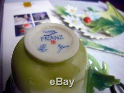 Set of 2 Franz Porcelain Lady Bug Cup, Saucer, Spoon in Original box