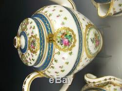 Sevres France Hand Painted Roses Flower Raised Gold Tea Pot Creamer Sugar Set
