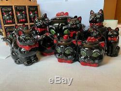 Shafford Black Cat 1950s lot, incl. Spice rack, teapot, cookie jar, jam caddy