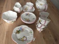 Shelley England Wild Flowers 13668 Fine Bone China Tea Set 21 Pieces Tea Pot