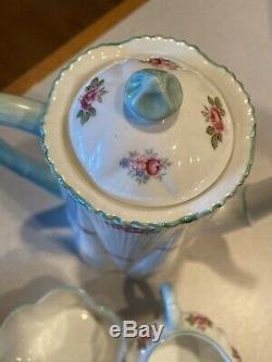 Shelley Rosebud 4 Cup Coffee/Tea Pot Set Lot Dainty Shape RD272101 PTN 13426