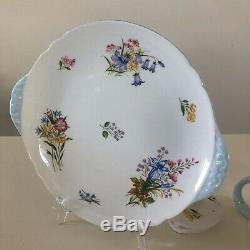 Shelley Wild Flowers Tea For Two Set. Teapot, Teacup Trios, Sugar Cream, Plate