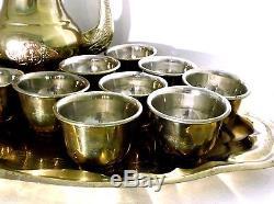 Silver Lining Antique Brass Tea Cup Teapot Set 10 Teacups