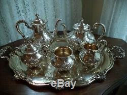 Silverplate tea coffee set w tray Reed&Barton Regent Shield teapot coffee server