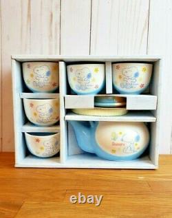 Snoopy Woodstock Everwin Ceramic Tea Set In Box Peanut Tea pot Cups UFS Blue