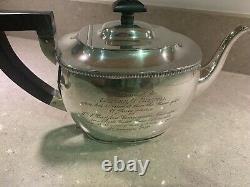 Solid Silver Three Piece Teapot Tea Set Cream Jug & Sugar Birmingham 1921 955g