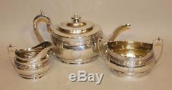 Solomon Hougham London 1807 Georgian Sterling Silver Tea Set Teapot Cream Sugar