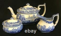 Spode Blue Italian Tea Set Teapot Cream and Sugar