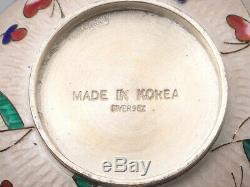 Sterling 98% Wired ENAMEL Sugar Pot Tray Spoon Korean Guilloche. #520g/ 18.31oz
