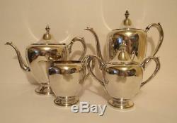 Sterling Silver 4 pc F. B. Rogers Coffee & Tea Pots Creamer & Sugar Set 1480 g