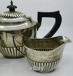 Sterling Silver 925 Tea Set Teapot Cream & Sugar English 570 grams