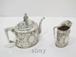 Sterling Silver W. Gale & Son, NY Antique Floral Ornament Teapot & Creamer Set