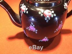 TEAPOT Black Porcelain Pink Flower WW2 Era For England & Democracy Royal Navy