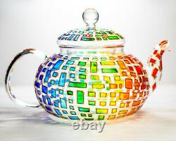 Tea Set Colorful Teapot with 2 Cups and Saucers Geometric Design Teapot Rainbow