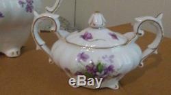Tea Set Spring Violets Teapot Creamer Sugar Occupied Japan Rossetti Chicago Old