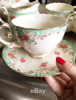 Tea Set Vintage China Cup Teapot Coffee Saucers Set Porcelain 11 Piece Gifts NEW