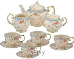 Tea Set Vintage China Teapot Sugar Creamer Pot Saucers Cups Blue Rose Porcelain