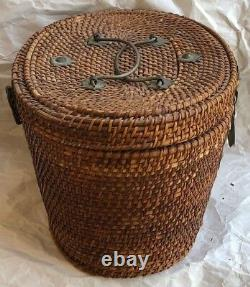 Teapot And Cup In Woven Picnic Tea Basket Asian