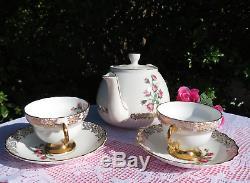 Teapot, PINK ROSES teacups saucers plates, Rosina trios Vintage English Tea Set