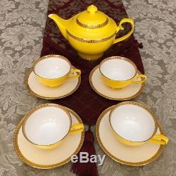 Teavana Noble Poppy Yellow Bone China Tea Set Teapot, Tea cups, Saucers