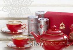 Teavana Ruby Red Tea Set Bone China Teapot Cups Saucers Gold Teapot & 8 Cup Sets