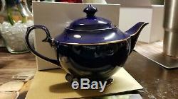 Teavana Teapot Tea Set 9 Pc Sapphire Gold White 43 Oz Bone China 2015