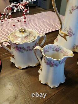 Theodore Haviland Limoges France Pink Roses Chocolate Set