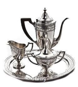 Tiffany & Co. Sterling Silver Black Filigree 4 Piece Tea Teapot Service Set