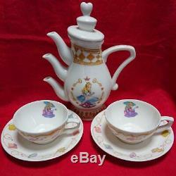Tokyo Disneyland Alice in Wonderland Teapot & 2 teacups & saucer & cutlery set