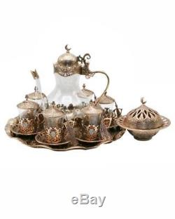 Traditional Turkish Style Tea Set for 6 incl Tray & Teapot with Colorful Stones