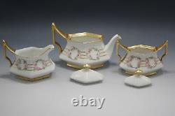 Tresseman Vogt Limoges Tea Set Teapot Sugar And Creamer Pink Roses Antique