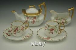 Tressemann Vogt Limoges Tea Set Teapot Creamer 2 Cups Hollyberry Small