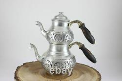 Turkish Handmade Copper Teapot Set Samovar Double kettle Çaydanlik 2 Sizes
