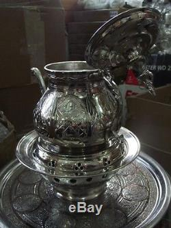 Turkish Made Copper Teapot Set, Tea Kettle, Samovar with Warmer Nickel Plated