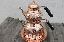 Turkish Traditional Handmade Copper Teapot Set Semaver With Fondue Set Samovar