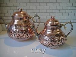 Turkish Traditional Handmade Handhammered Copper Teapot Set Semaver Large