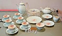 UNUSED 28 Piece Aynsley Duck Egg Blue Cabbage Rose Tea Coffee Pot Set 1960s