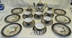 Ucago Japan Dragonware Moriage Tea Set 6 Plates Cups Saucers -Teapot Cream Sugar