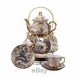 Ufengke 13 Piece European Retro Titanium Ceramic Tea Set With Metal Holder