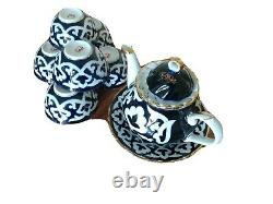 Uzbek / Uzbekistan PAHTAGUL / cotton Teapot / tea Set. Made in Uzbekistan