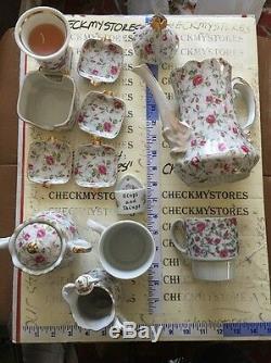 VINTAGE 15 PC Lefton #660 China Rose Chintz Coffee Pot, Teapot, set made in JAPAN