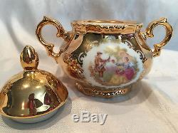 VINTAGE 24 KT GOLD PORCELAIN STW BAVARIA GERMANY COFFEE TEA SUGAR CREAMER SET