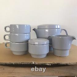 VINTAGE Mid-Century Modern RETRO Flat Top BLUE TEAPOT Cups Creamer Sugar TEA SET