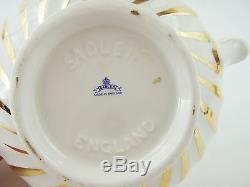 VINTAGE SADLER Gold Swirl & Beige Porcelain Teapot Made in England NO CHIPS