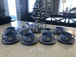 VINTAGE WEDGWOOD BLUE WHITE JASPERWARE TEAPOT CREAM SUGAR & 6 CUPS WithSAUCERS SET