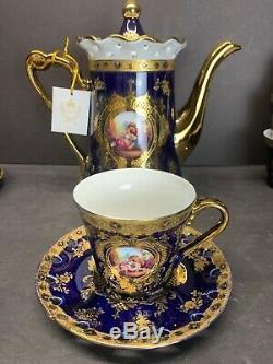 VTG Imperial Limoges Teapot Set Of 15 in Cobalt Blue & Gold Floral New Old Stock