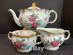 VTG Large Royal Crown Derby DERBY DAYS Bone China Teapot Cream & Sugar Set Mint